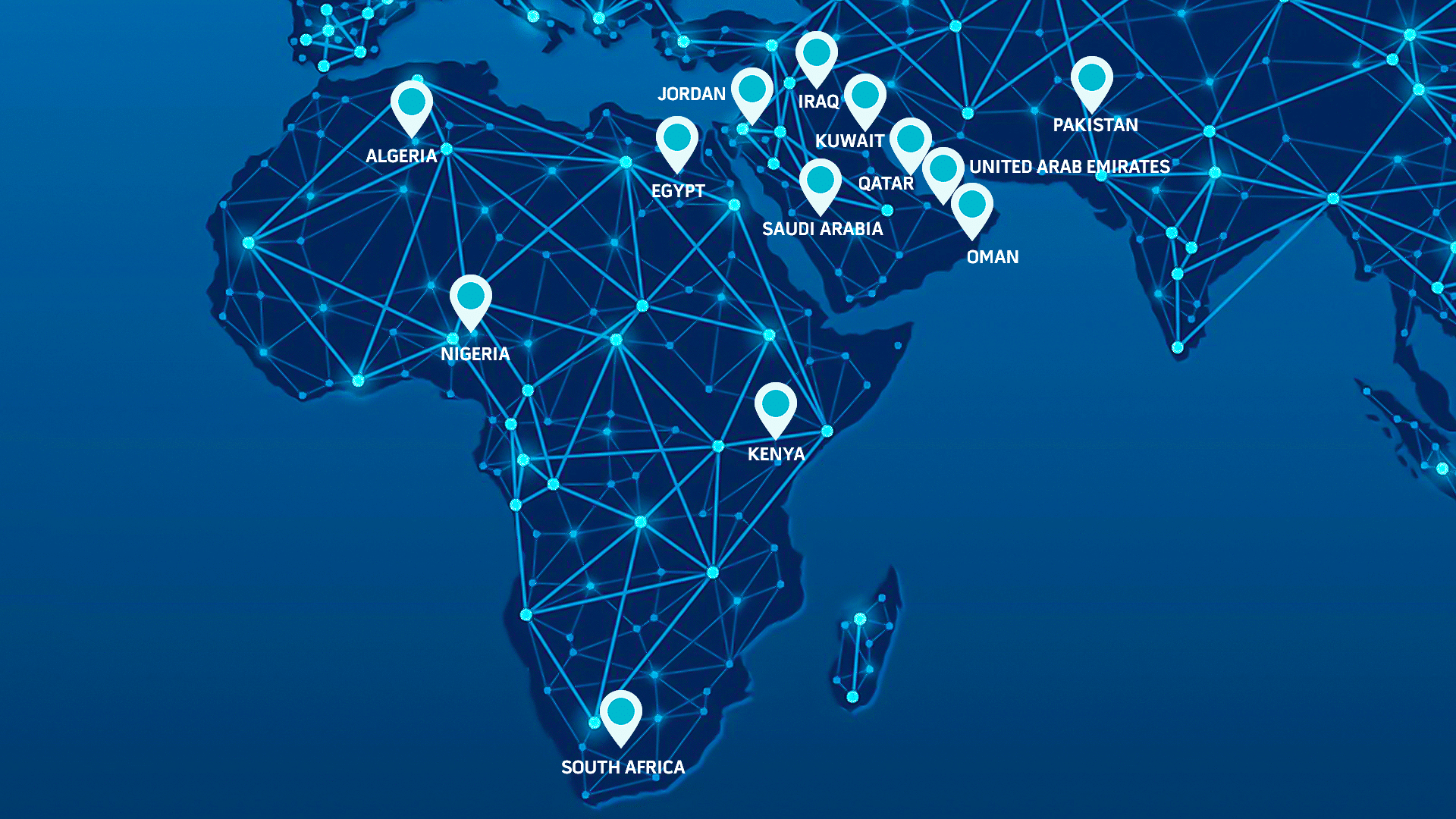 Map of the Middle East and Africa with Location Pins Pinpointing Trident Technology Services Presence